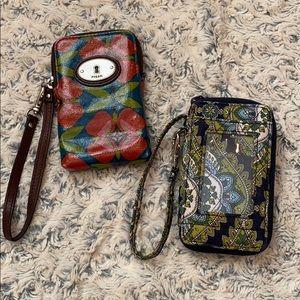 TWO Wristlet Wallets ( Fossil & Vera Bradley)